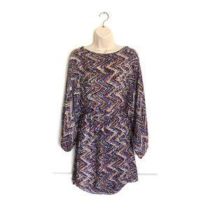 Parker Silk Chevron Long Sleeve Belted Dress